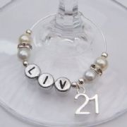 21st Birthday Personalised Wine Glass Charm - Elegance Style